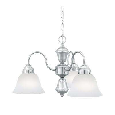 Whitmore 3-Light Brushed Nickel Chandelier With Etched Glass Shades
