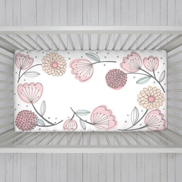 Pink 100% Cotton Floral Fitted Photo-Op Crib Sheet
