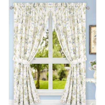 Abigail Porcelain Polyester/Cotton Tailored Pair Curtains with Ties - 90 in. W x 84 in. L