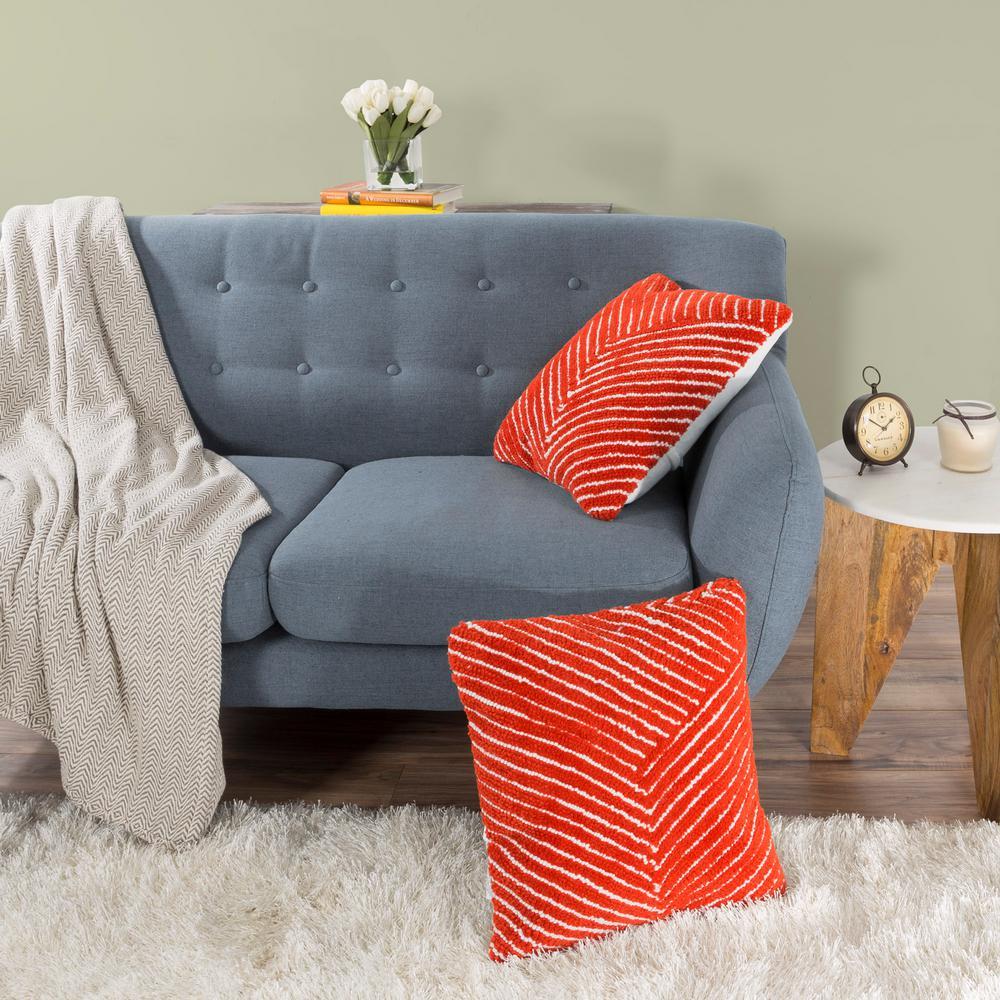 Modern Family Pillow Stripe : Lavish Home Modern Diagonal Stripe Red Decorative Pillow-66-09-CR - The Home Depot