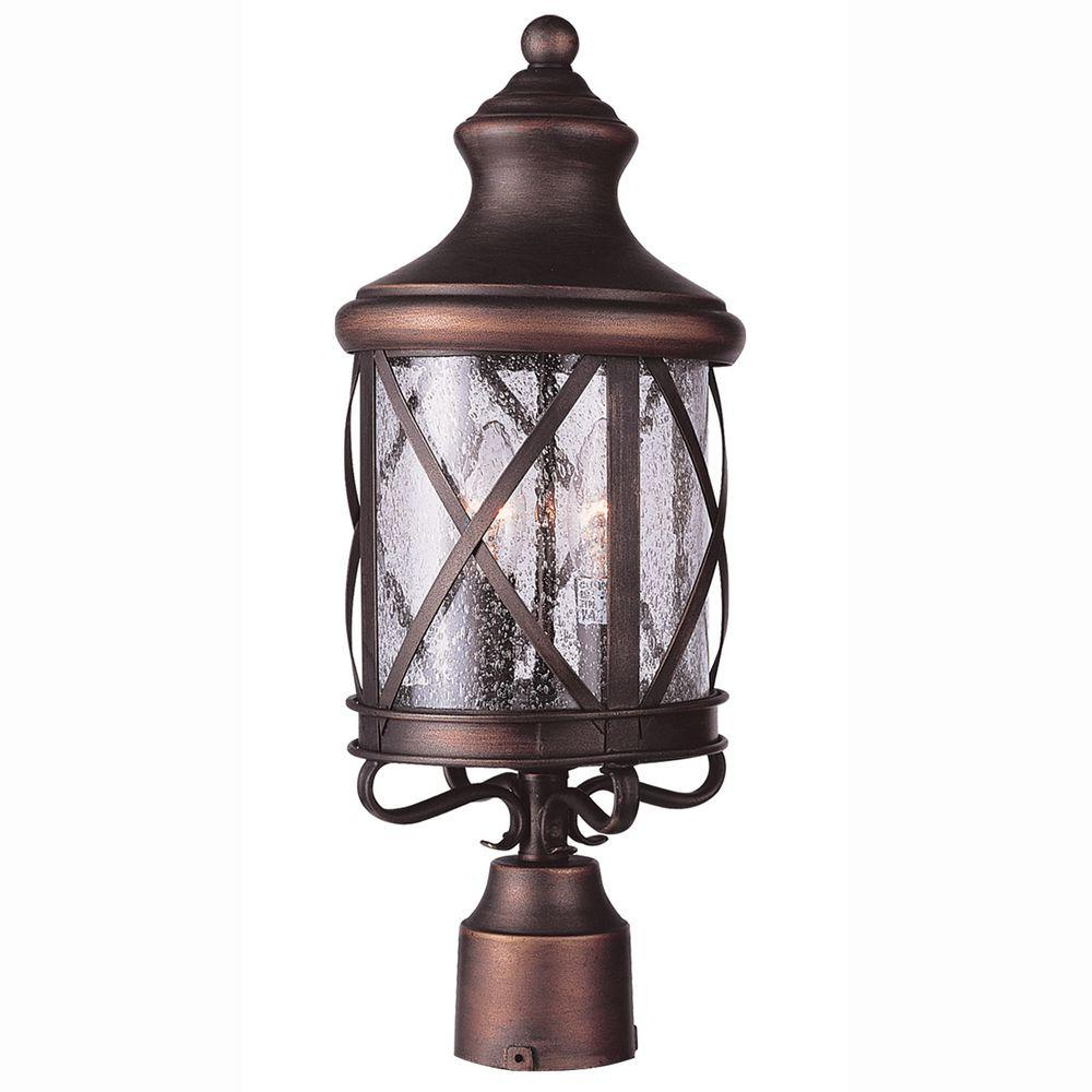 Bel Air Lighting Carriage House 3-Light Outdoor Antique Copper Post Top Lantern with Seeded Glass