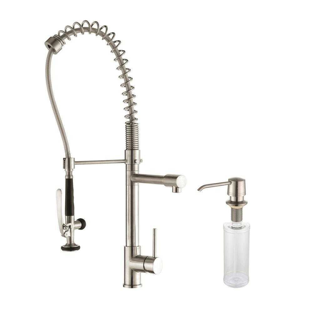 KRAUS Commercial Style Single Handle Pull Down Kitchen Faucet With Pre Rinse