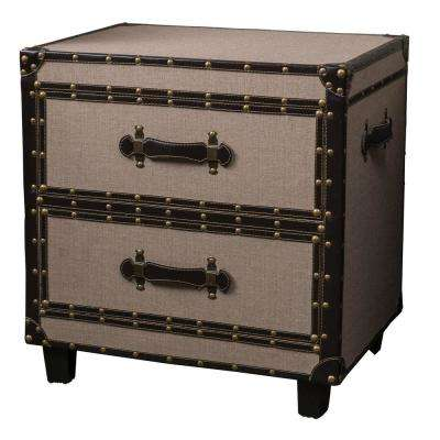 Natural Tan Fabric-Covered Wooden 2-Drawer End Table with Bonded Leather Trim Accents