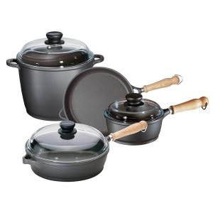 Tradition 7-Piece Cast Aluminum Nonstick Cookware Set in Gray