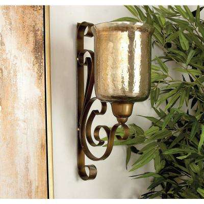 20 in. x 11 in. Traditional Wrought Iron and Glass Wall Candle Sconce