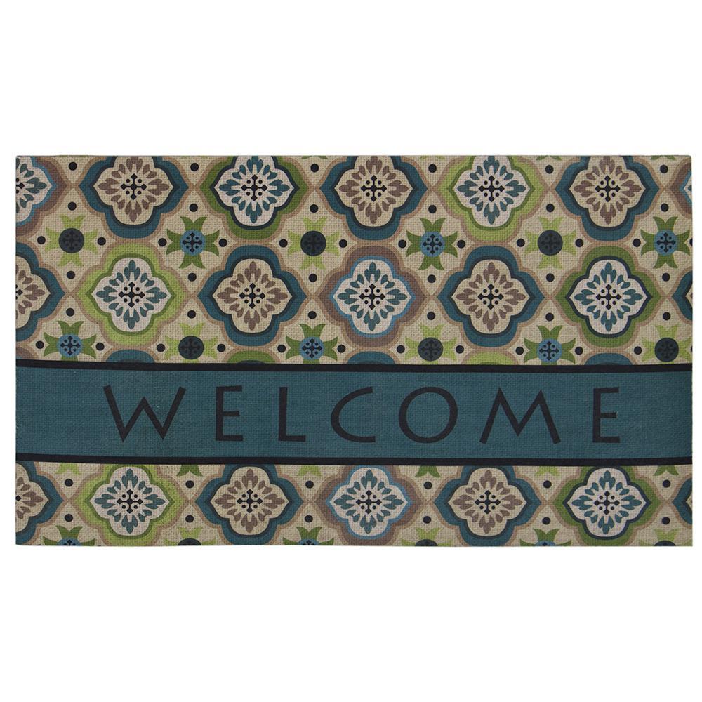 Caneel Bay Medallion Tiles 18 inch x 30 inch Door Mat by