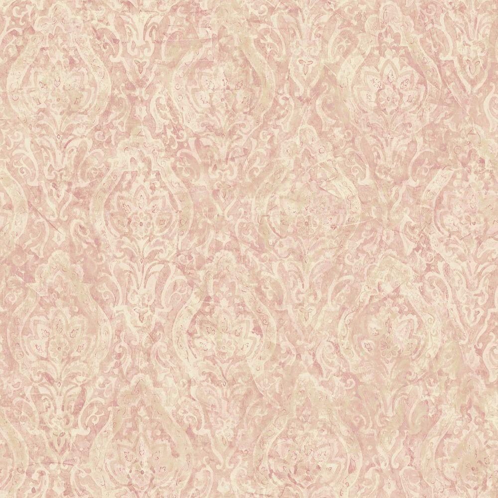 The Wallpaper Company 8 in. x 10 in. Pink Damask Wallpaper Sample-DISCONTINUED