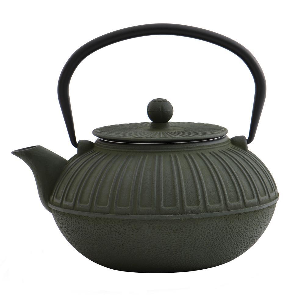 6.4-Cup Cast Iron Dark Green Teapot