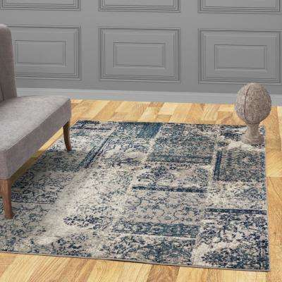 Jasmin Collection Damask Patchwork Design Gray and Teal 5 ft. x 7 ft. Area Rug