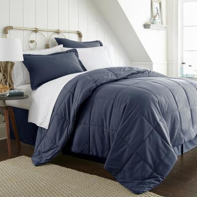 Bed In A Bag Performance Navy Queen 8-Piece Bedding Set