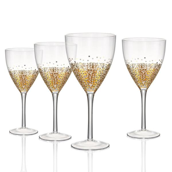 14 oz. Goblet with Silver and Gold Confetti Decoration (Set of 4)