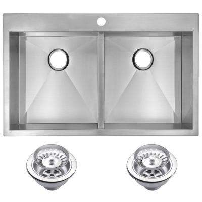 Drop-In Stainless Steel 33 in. 1 Hole 50/50 Double Basin Kitchen Sink with Strainer in Satin