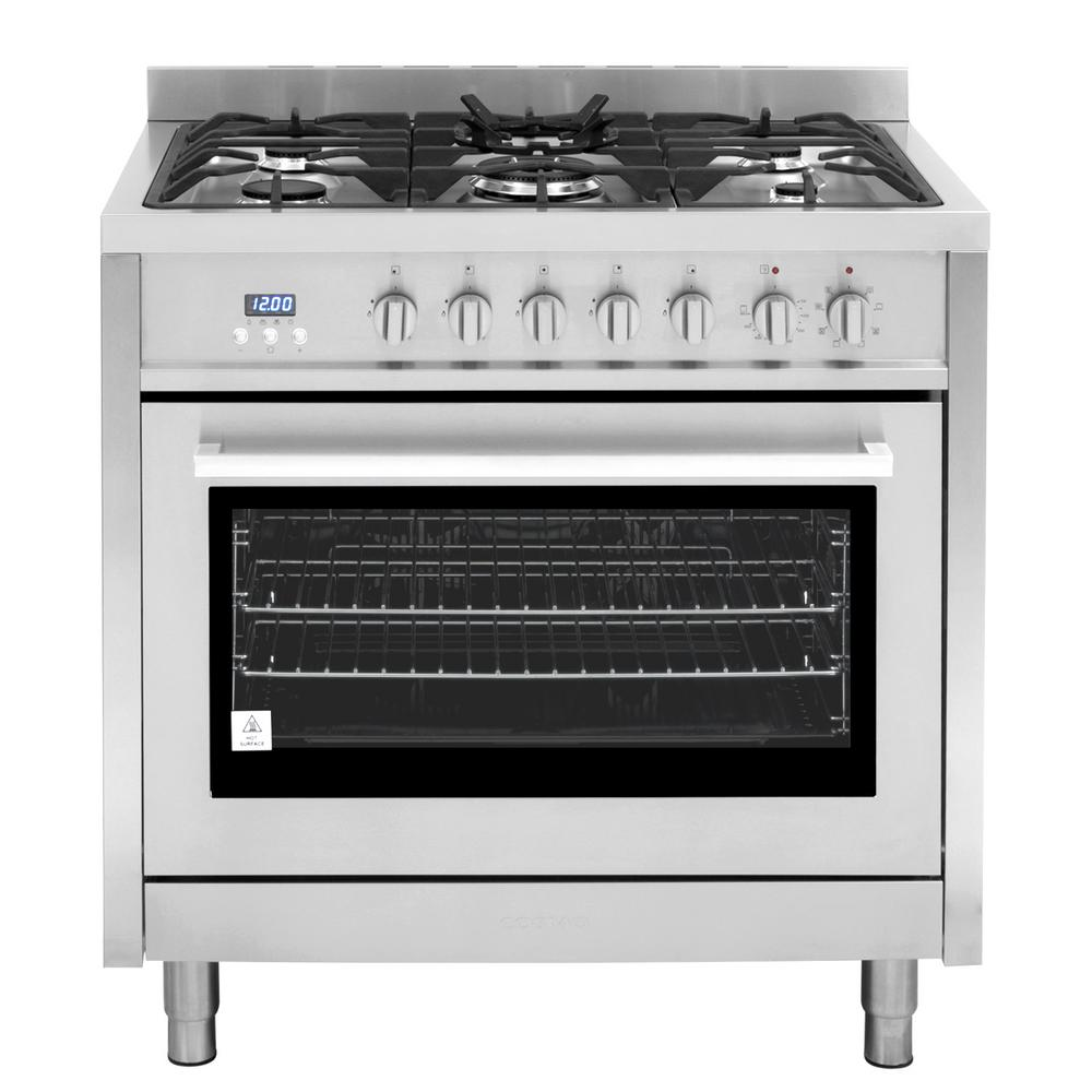 Commercial Style 36 In 3 8 Cu Ft Single Oven Dual Fuel Range With Function Convection Stainless Steel
