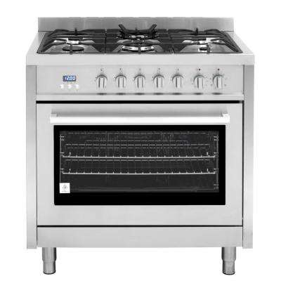 Commercial-Style 36 in. 3.8 cu. ft. Single Oven Dual Fuel Range with 8 Function Convection Oven in Stainless Steel