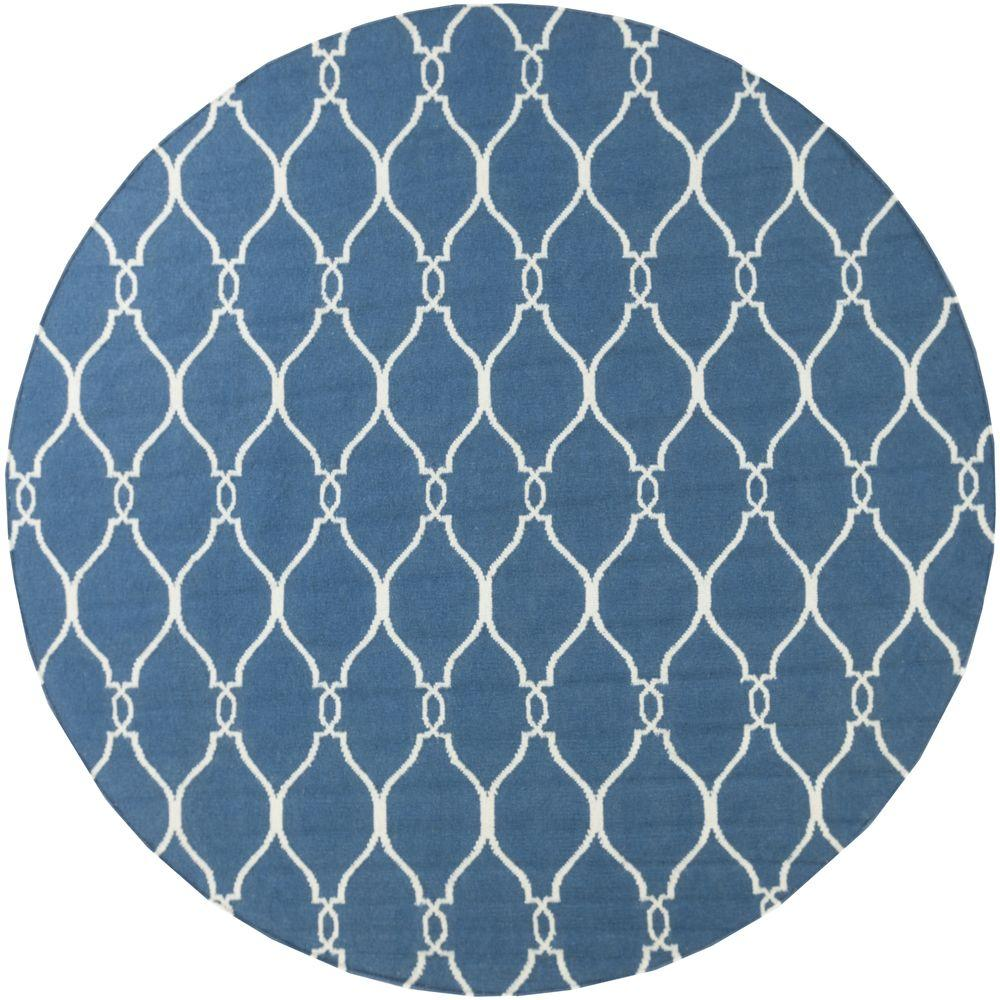 Jill Rosenwald Blue 8 ft. x 8 ft. Flatweave Round Area