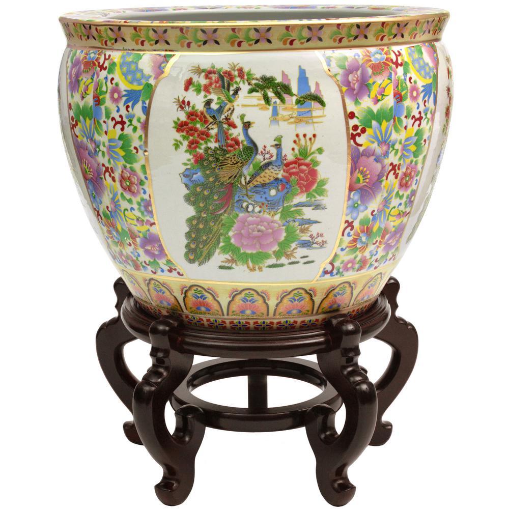 Oriental Furniture 16 in. Satsuma Birds & Flowers Porcelain Fishbowl