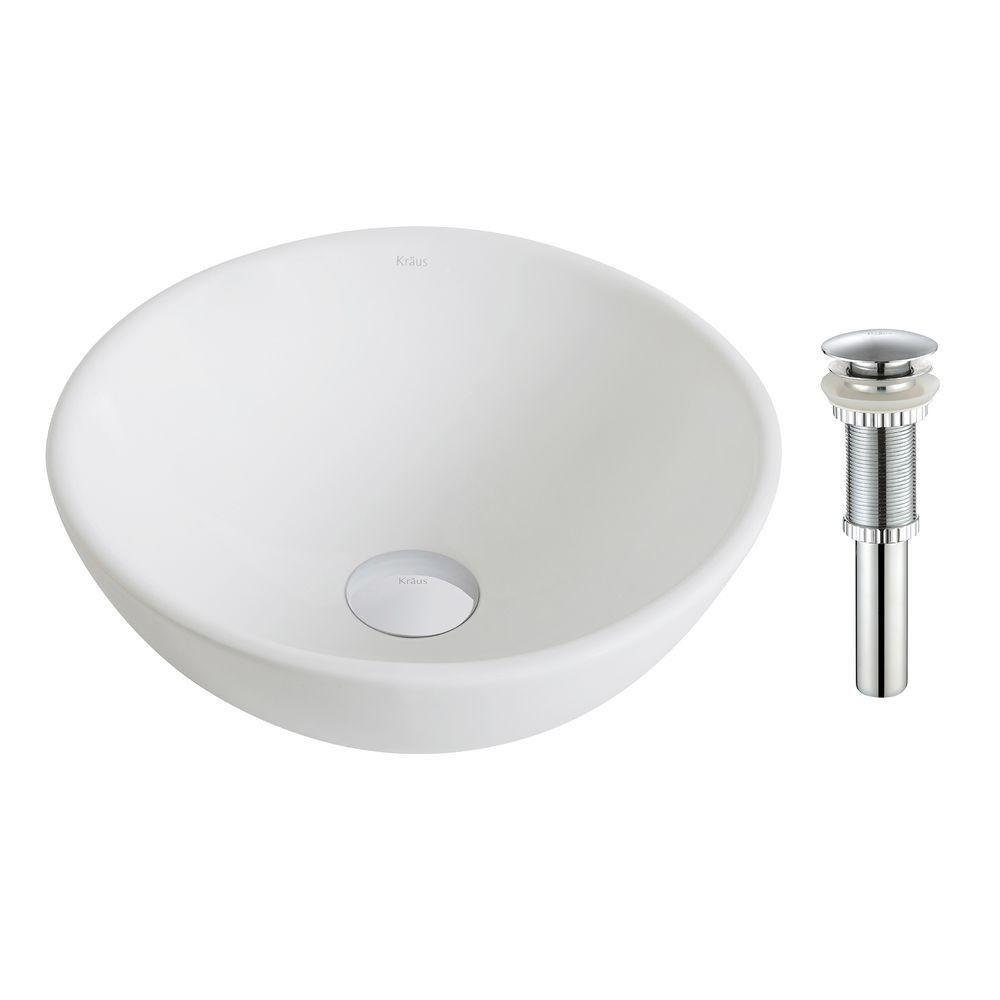 Elavo Small Round Ceramic Vessel Bathroom Sink in White with Pop