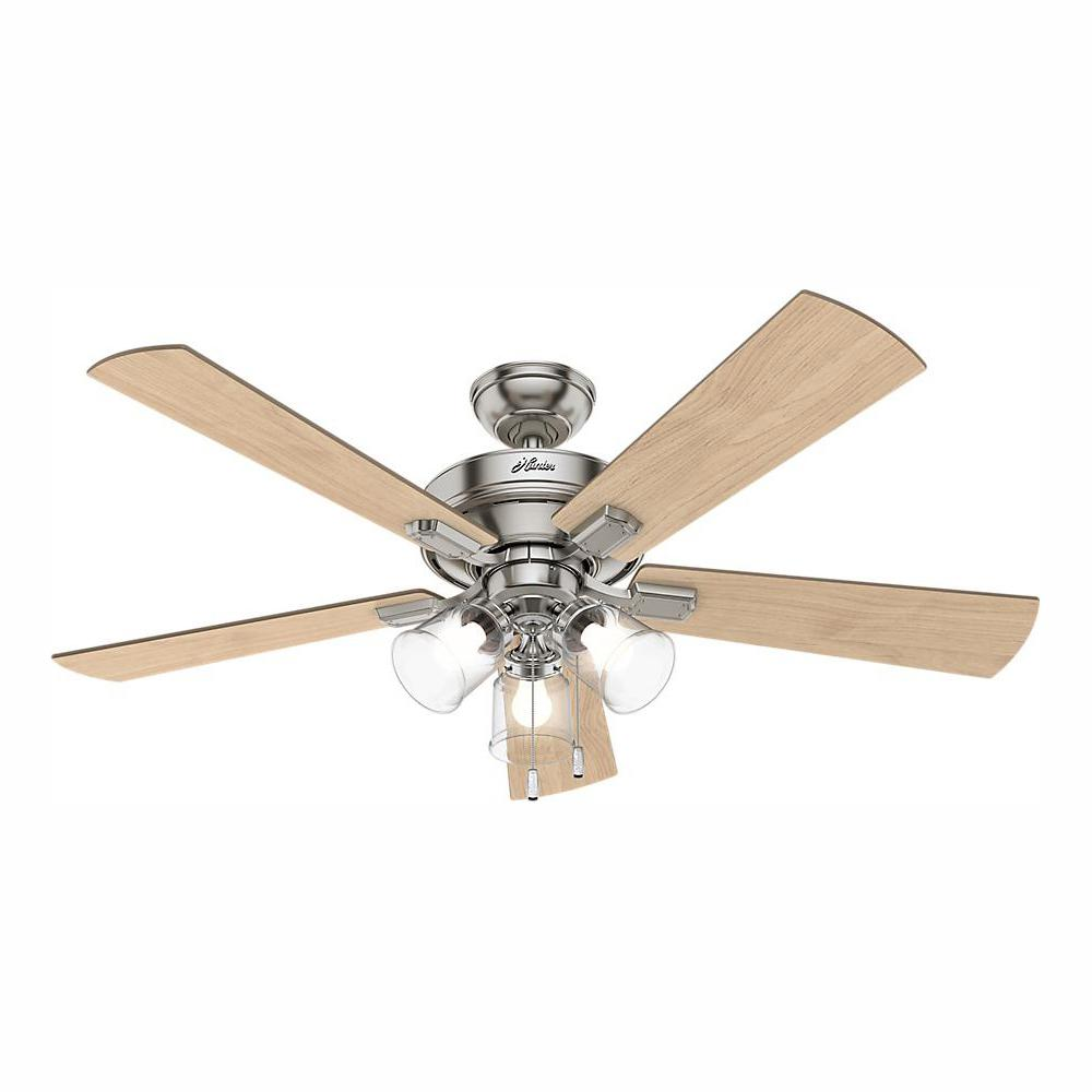 Hunter Crestfield 52 in. LED Indoor Brushed Nickel Ceiling Fan with 3-Light Kit