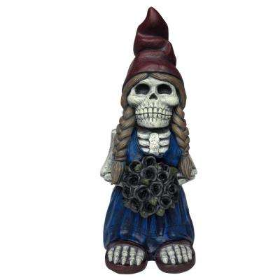 18.5 in. H Skeleton Lady Gnome with Flowers Lawn Statuary