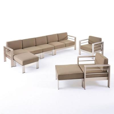 Cape Coral Silver 7-Piece Aluminum Patio Conversation Sectional Seating Set with Khaki Cushions