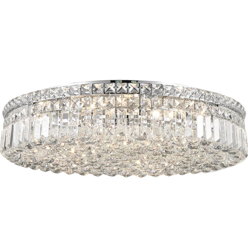 Worldwide Lighting Cascade Collection 9 Light Crystal and Chrome Ceiling Light