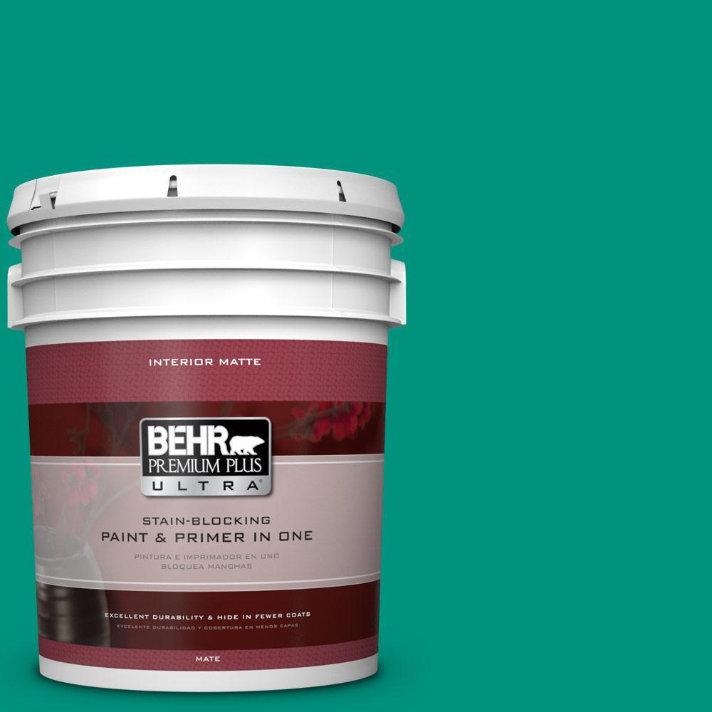 BEHR Premium Plus Ultra 5 gal. #S-G-480 Aqua Waters Flat/Matte Interior Paint