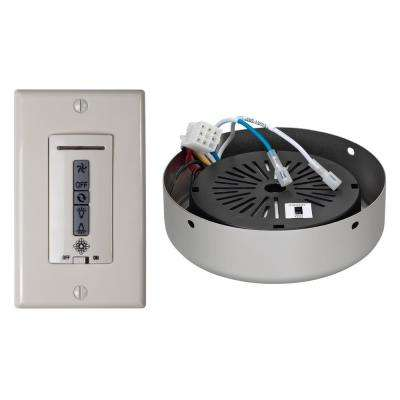 White and Almond Hardwired Ceiling Fan Wall Remote Control and Receiver with Brushed Pewter Receiver Hub