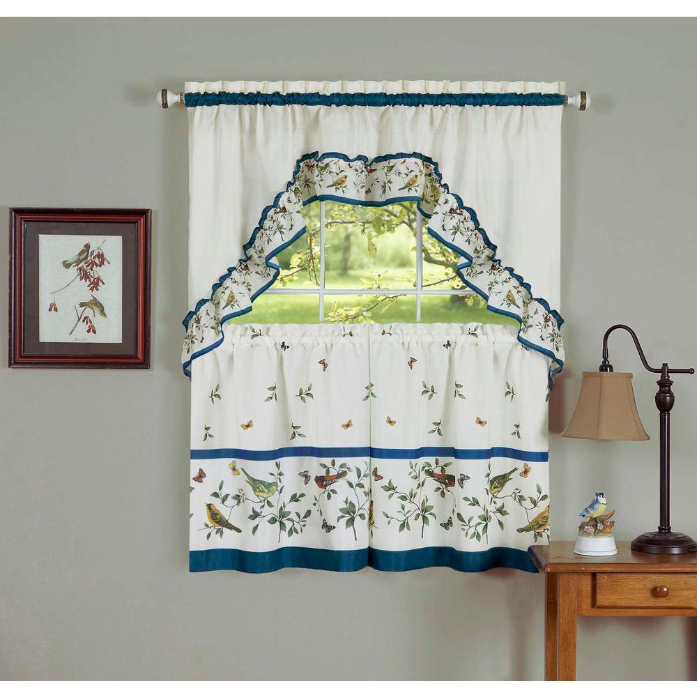 Achim Sheer Love Birds Blue Printed Tier and Swag Window ...