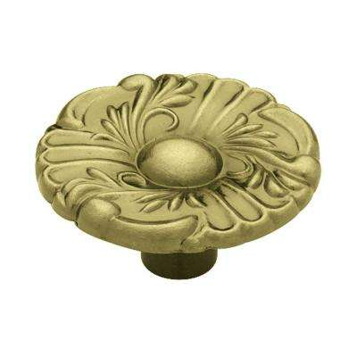 Provincial 1-1/2 in. (38mm) Antique Brass Round Cabinet Knob