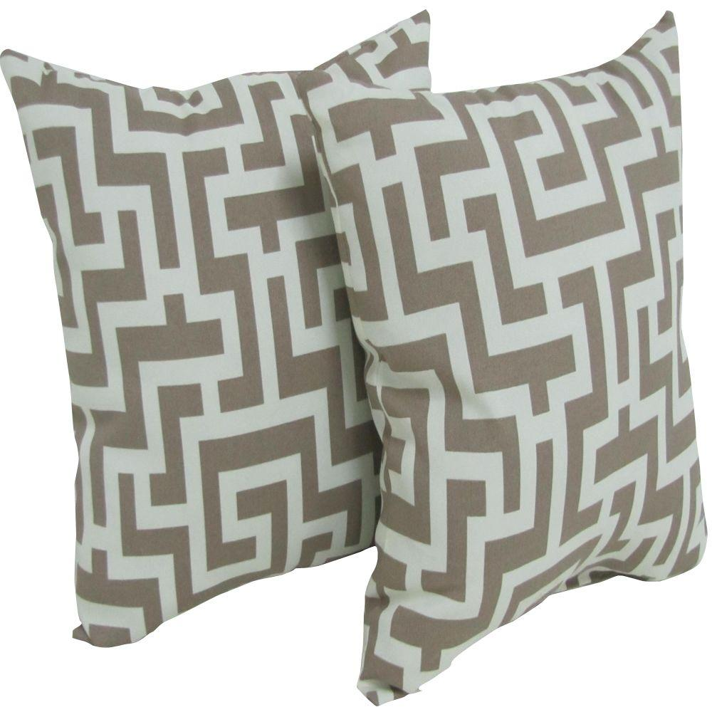 Throw Pillows Taupe : Arlington House Keys Taupe Square Outdoor Throw Pillow (2-Pack)-6050-026191-00 - The Home Depot