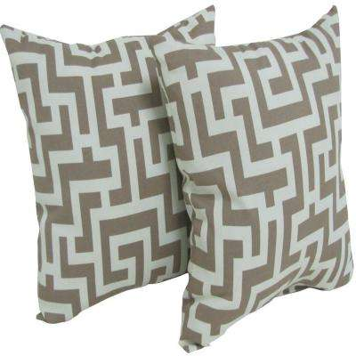 Keys Taupe Square Outdoor Throw Pillow (2-Pack)
