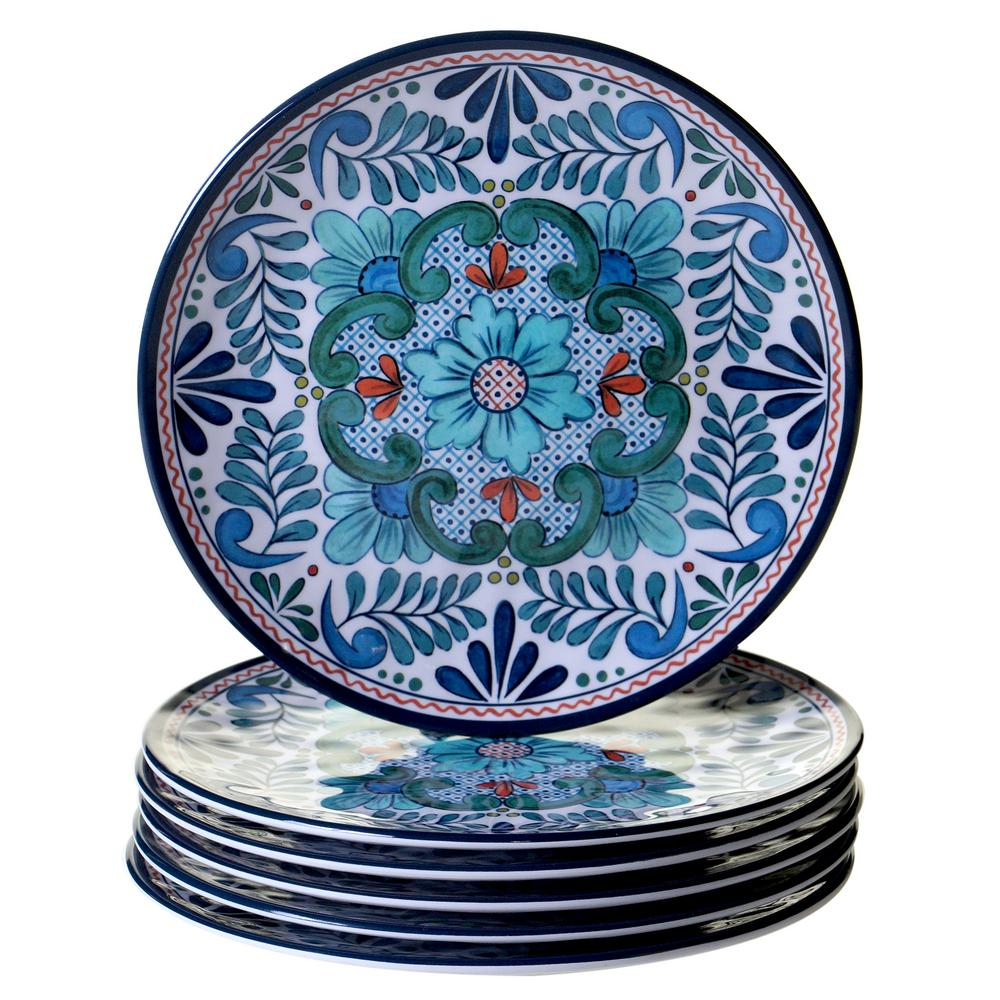 Certified Intl Talavera 6-Piece Blue Salad Plate Set  sc 1 st  Nextag & Hand painted mexican plates | Compare Prices at Nextag