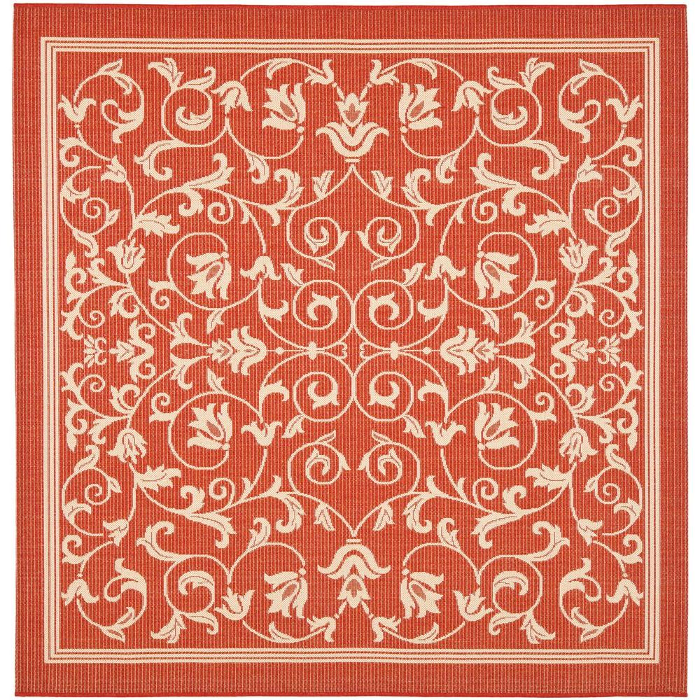 Safavieh Courtyard Red/Natural 6 ft. 7 in. x 6 ft. 7 in. Indoor/Outdoor Square Area Rug