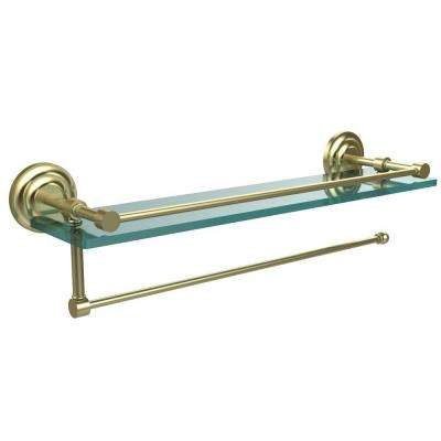 Prestige Que New 16 in. L x 5 in. H x 5 in. W Paper Towel Holder with Gallery Clear Glass Shelf in Satin Brass