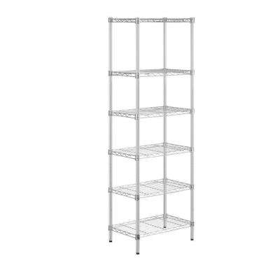72 in. H x 24 in. W x 14 in. D 6-Shelf Steel Shelving Unit in Chrome