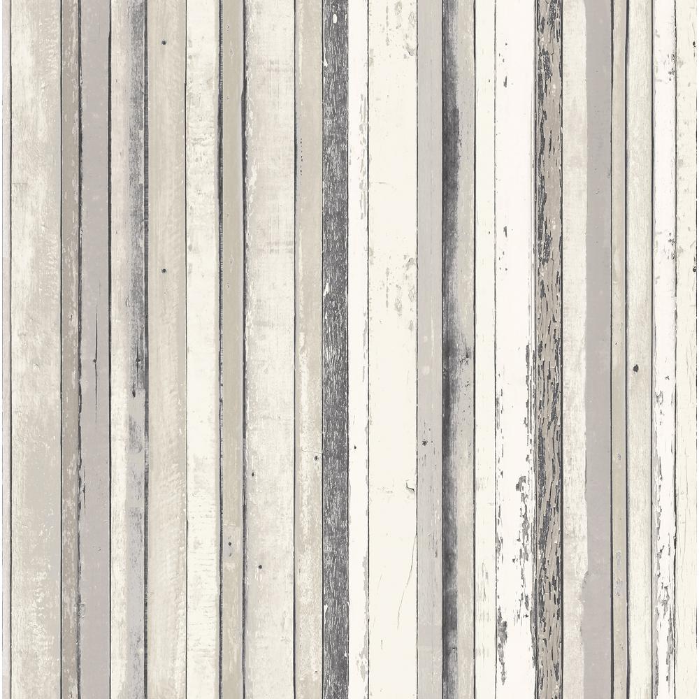 Bodhi Grey Distressed Stripe Wallpaper Sample