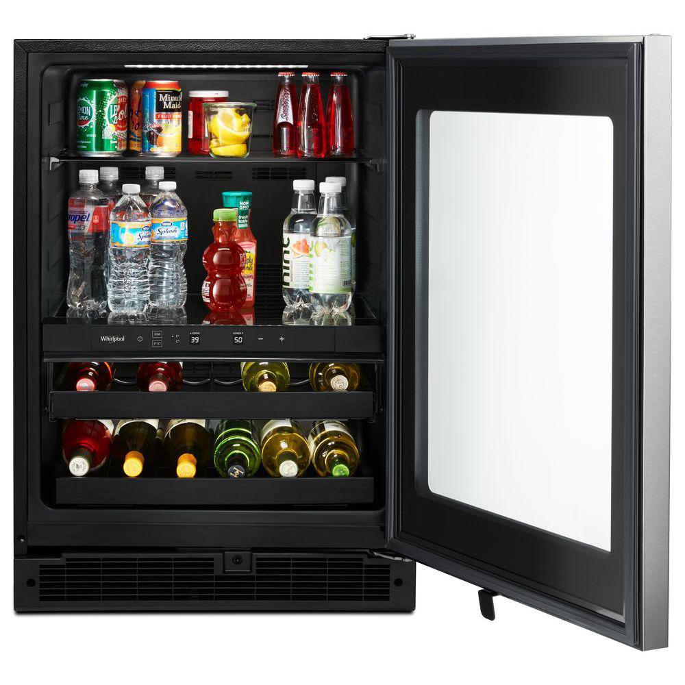 24 in. 5.8 cu. ft. 16-Bottle Wine Cooler and Beverage Center in Fingerprint Resistant Stainless Steel
