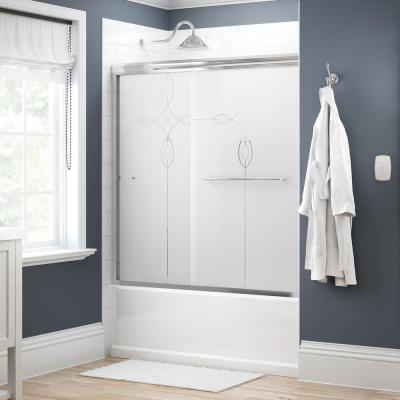 Simplicity 60 in. x 58-1/8 in. Semi-Frameless Traditional Sliding Bathtub Door in Chrome with Tranquility Glass