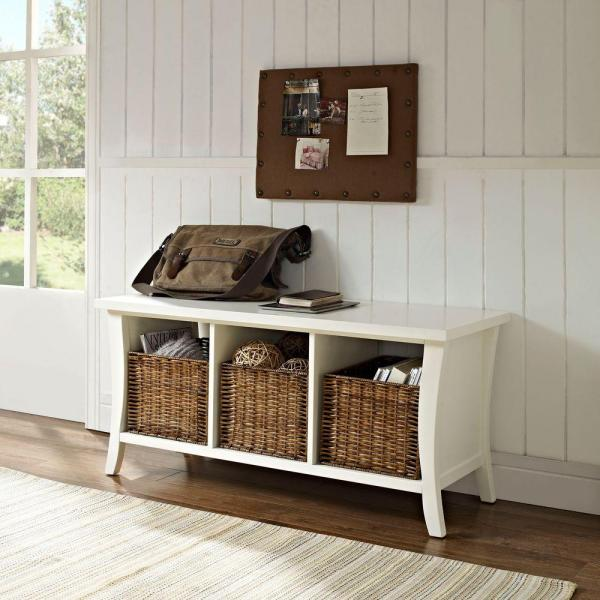 Crosley Wallis White Storage Bench