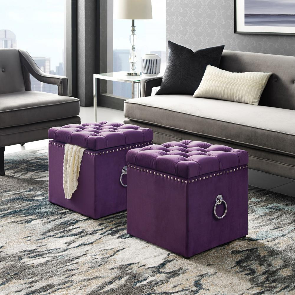 Beau Inspired Home Micella Purple/Chrome Velvet Nailhead Trim Cube Storage  Ottoman SO82 02PL HD   The Home Depot