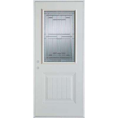 33.375 in. x 82.375 in. Architectural 1/2 Lite 1-Panel Painted White Right-Hand Inswing Steel Prehung Front Door