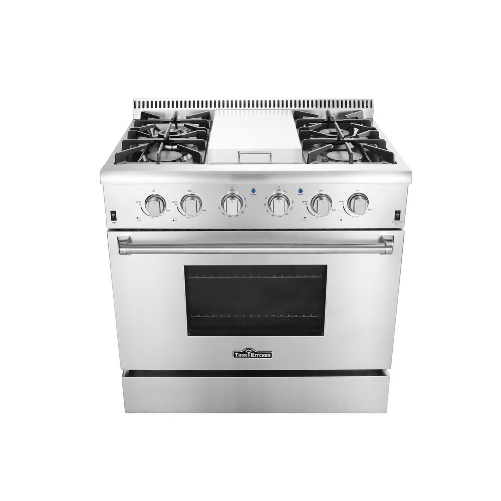 Superbe Thor Kitchen 36 In. 5.2 Cu. Ft. Professional Gas Range In Stainless Steel
