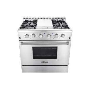 Thor Kitchen 36 inch 5.2 cu. ft. Professional Gas Range in Stainless Steel by Thor Kitchen