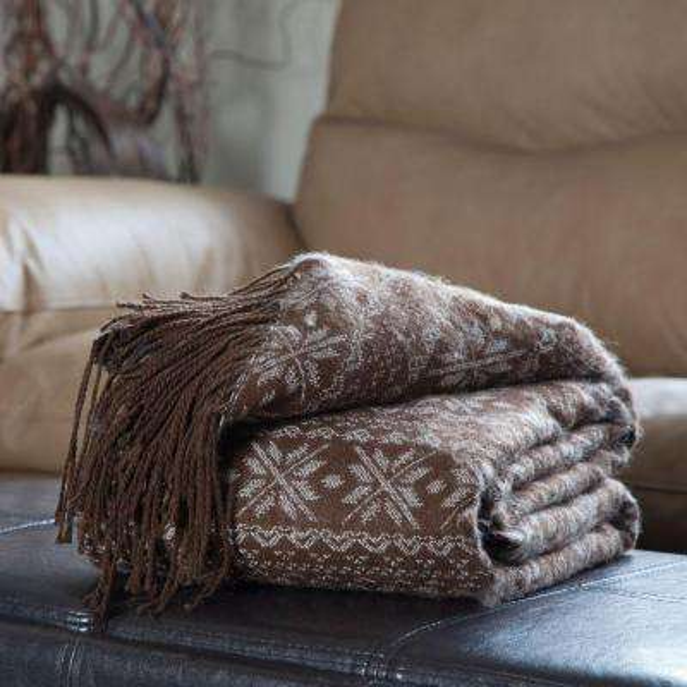 Brown Jacquard Polyester Throw Blanket