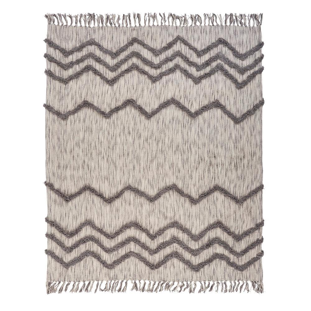 LR Resources Zig Zag Chevron Beige Cotton Decorative Throw Blanket