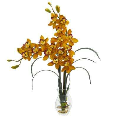 Indoor Double Cymbidium Orchid in Vase Artificial Arrangement