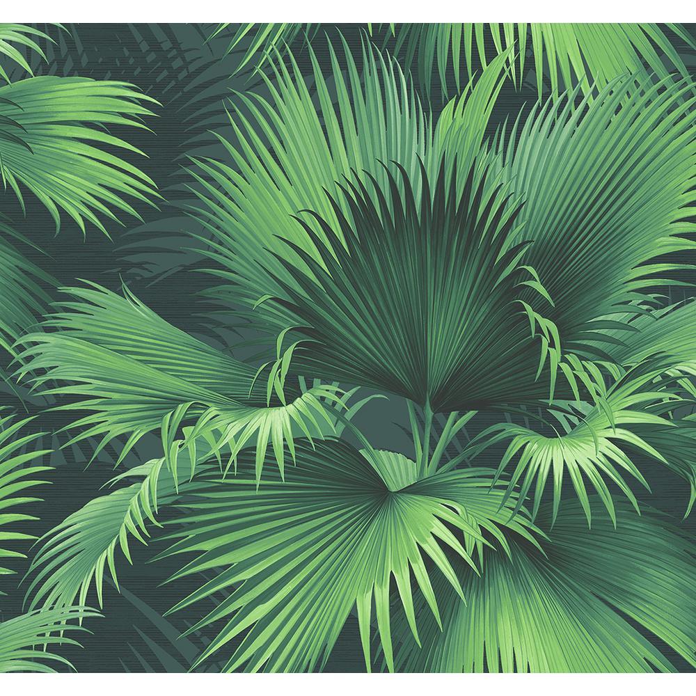 964729fa8 Kenneth James Endless Summer Dark Green Palm Wallpaper Sample ...