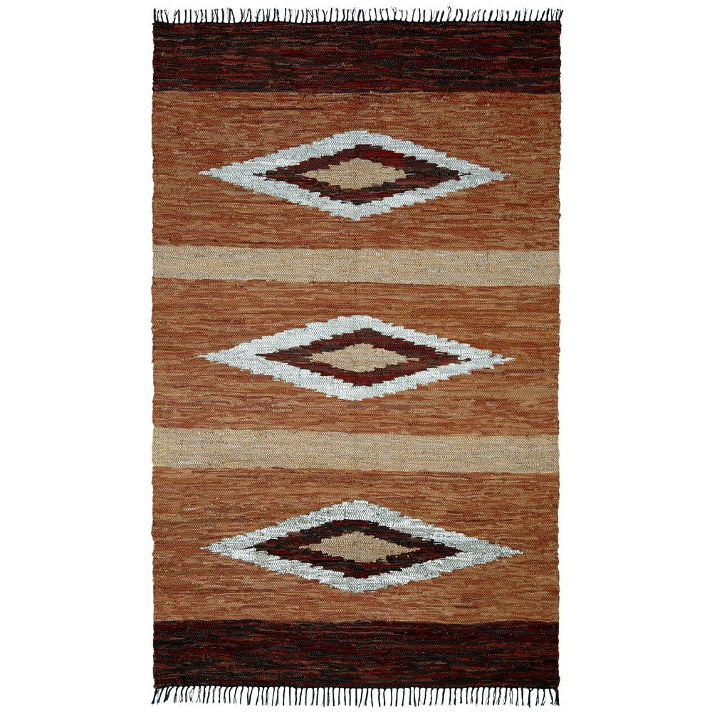 Diamond Brown Leather 9 ft. x 12 ft. Area Rug