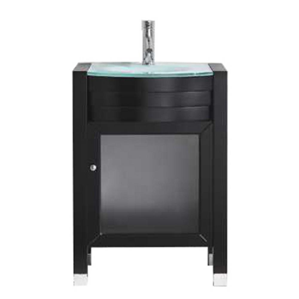 Virtu USA Ava 24 in. W Bath Vanity in Espresso with Glass Vanity Top in Aqua Tempered Glass with Round Basin and Faucet