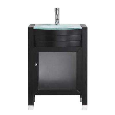 Ava 24 in. W Bath Vanity in Espresso with Glass Vanity Top in Aqua Tempered Glass with Round Basin and Faucet